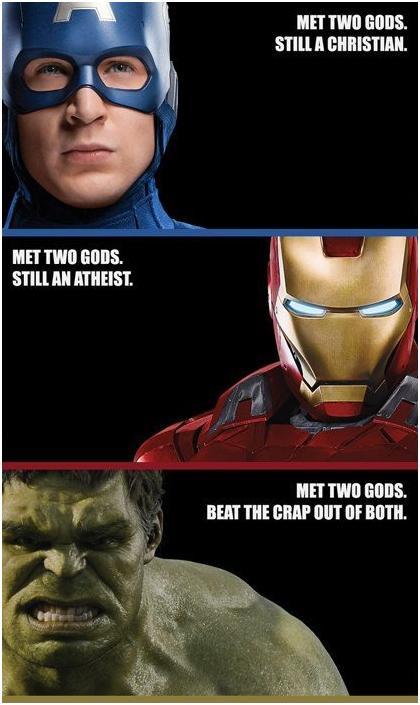 Image of superheroes that met gods