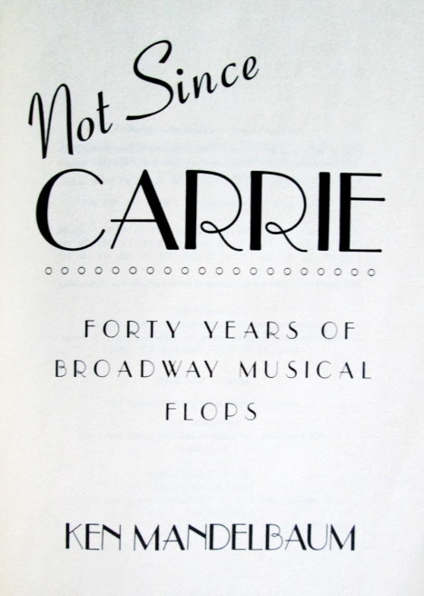 Not Since Carrie- Title Page