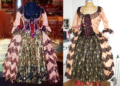 One of the dresses depicted above is a fan-made recreation. The other is an official stage costume. I defy you to identify which is which.