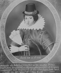 Portrait of Pocahontas, aka Rebecca Rolfe, circa 1616.