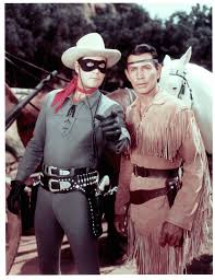 Jay Silverheels, left, played Tonto in the first Lone Ranger television series.