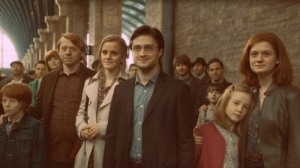 Harry, Ron, Hermione, and family in the Deathly Hallows epilogue