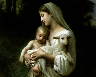 virgin mary jesus lamb purity