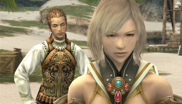 Ashe and the character Balthier having one of many important conversations that Vann is not part of.