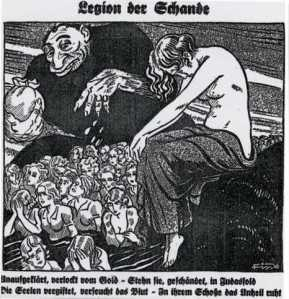 "1935 Nazi newspaper cartoon. The text is ""Ignorant, lured by gold, They stand disgraced in Judah's fold. Souls poisoned, blood infected, Disaster broods in their wombs"""