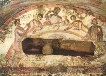 "Fresco from the tomb of 4th century Christians. If you look closely, they've written ""agape"" on the left. image via wikicommons"