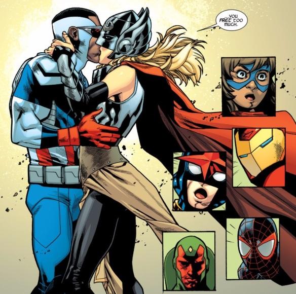 avengers cap thor kiss