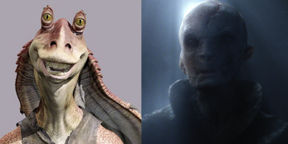 But just in case anyone is curious, Darth Snoke is obviously Jar Jar Binks. Jar Jar just aged really poorly, okay!