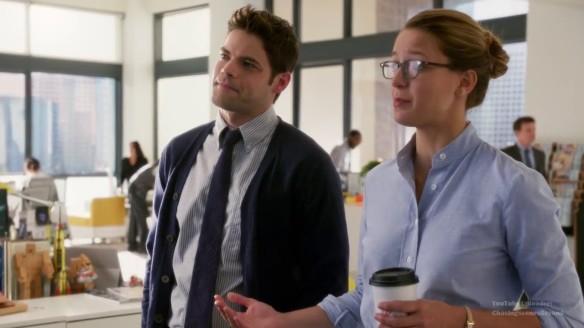 Supergirl Kara and Winn holding Coffee