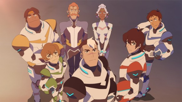 From left to right: Hunk, Allura's aide Coran, Allura,