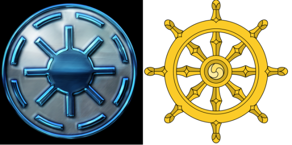 Pictured from left to right: the Bendu symbol and a Buddhist symbol. Eight is a very specific number and I highly doubt this is a coincidence. The eight spokes probably represent the Eight Fold Path.