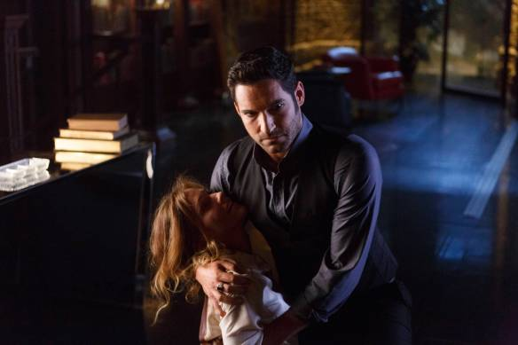 LUCIFER: L-R: Tricia Helfer and Tom Ellis in ÒEverythingÕs Coming Up LuciferÓ season premiere episode of LUCIFER airing Monday, Sept. 19 (9:01-10:00 PM ET/PT) on FOX ©2016 Fox Broadcasting Co. Cr: Michael Courtney/FOX.
