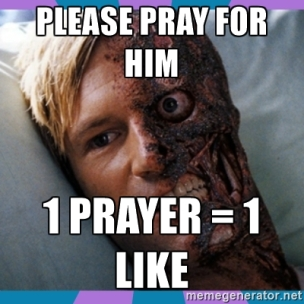 In lieu of using an example of a real person with a serious medical condition, here's Harvey Dent to give you the idea.